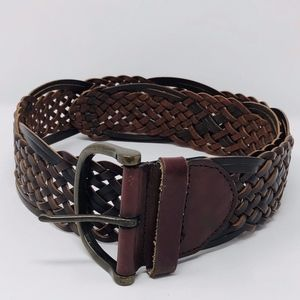 Aeropostale Wide Braided Genuine Leather Belt S